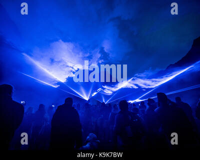 Peak District, UK. 23rd September, 2017. WATERLICHT, an ambitious and large-scale digital installation by Dutch - Stock Photo