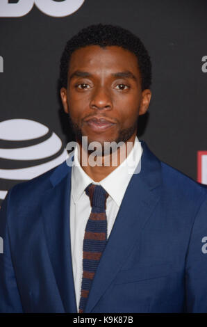 New York, NY, USA. 21st Sep, 2017. Chadwick Boseman attends the Urbanworld Film Festival: Open Road's Marshall screening - Stock Photo