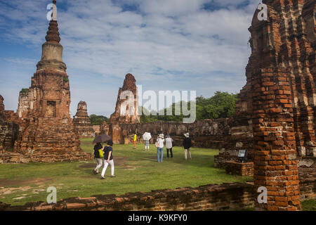 Wat Mahathat temple, in Ayutthaya, Thailand - Stock Photo