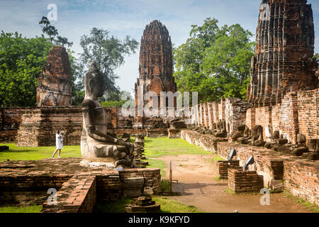 Wat Mahathat temple, in Ayutthaya, Thailand - Stock Photo
