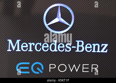 Mercedes-Benz promoted hybrid cars under the logo and brand EQ Power at the Frankfurt Motor Show 2017 in Germany - Stock Photo