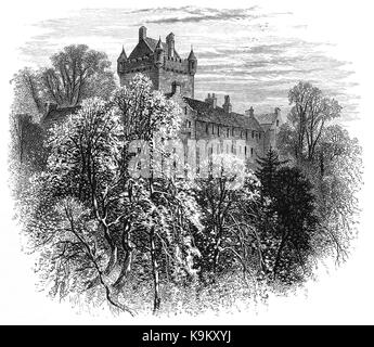 1870: Cawdor Castle was built around a 15th-century tower house, with substantial additions in later centuries in - Stock Photo