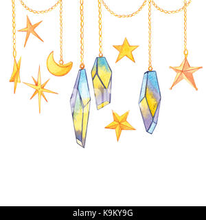 Set of geometric crystals on the chain with the stars and the crescent. Trendy hipster logotypes. Polygonal icons - Stock Photo