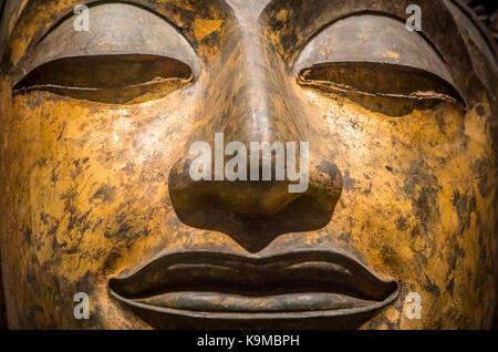 face, head, buddha, sculpture,statue,The National Museum,Exhibition Hall 1, Bangkok, Thailand - Stock Photo