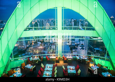 Red Sky Restaurant Rooftop. Bangkok. Thailand. On the top floor of the Centara Grand skyscraper in the city centre - Stock Photo