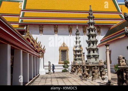 Courtyard, in Wat Pho (Wat Po), Temple of the Reclining Buddha, Bangkok, Thailand - Stock Photo