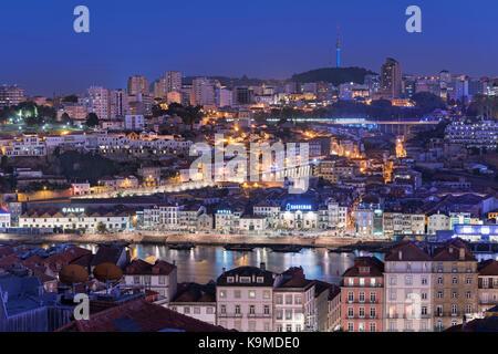 City view to Vila Nova de Gaia and port lodges Porto Portugal - Stock Photo