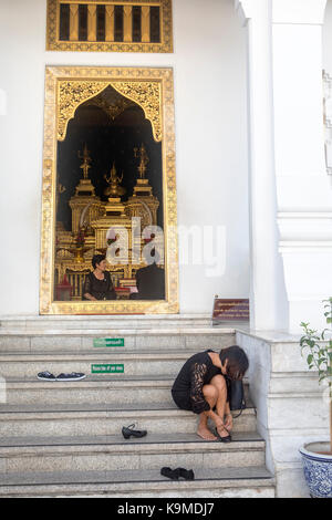 women, believer, City Pillar Shrine, Bangkok, Thailand - Stock Photo