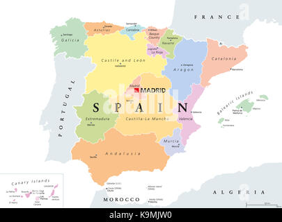 autonomous communities of spain Stock Vector Art  Illustration