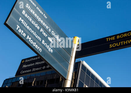 Pedestrian Directions Sign Board Southwark Bridge Road Bankside London United Kingdom Opposite the Financial Times - Stock Photo