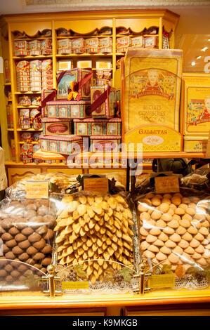 Cake shop, indoor view. Madrid, Spain. - Stock Photo