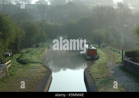 Misty morning, Boats moored on Caldon Canal, Denford, Stoke on Trent, Staffordshire, England, UK, United Kingdom, - Stock Photo