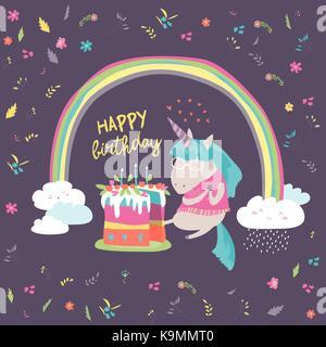 Little unicorn celebrates birthday with a delicious cake - Stock Photo