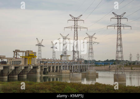 Serbia, River Danube at Iron gate, Hydro-electric power station Djerdap number one - Stock Photo