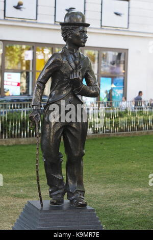 Charlie Chaplin statue Leicester Square - Stock Photo