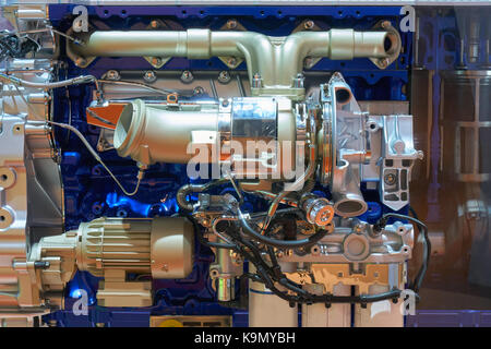 Side view of modern internal combustion engine of the truck - Stock Photo
