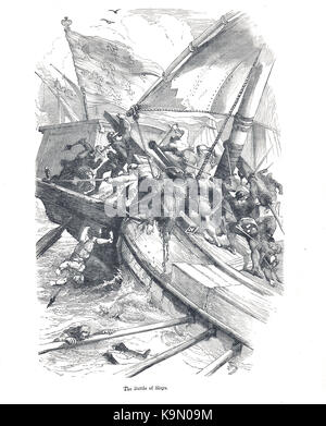 The Battle of Sluys, 24 June 1340.  Sea battle fought between England and France, one of the opening conflicts of - Stock Photo