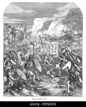 Roman invasion, Landing of Julius Caesar in Britain, 55-54 BC - Stock Photo