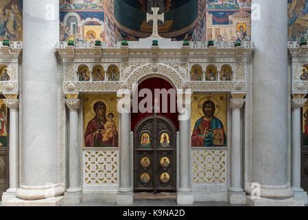 Orthodox church iconostasis (templon) with a beautiful gate - Stock Photo