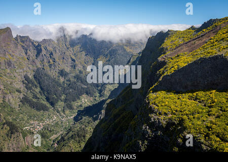 Landscape and Curral das Freiras, Madeira, Portugal - Stock Photo