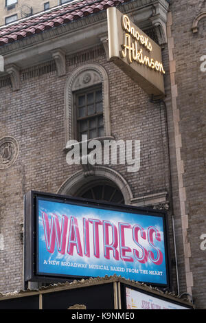 'Waitress' Marquee at the Brooks Atkinson Theater in Tmes Square, NYC, USA - Stock Photo
