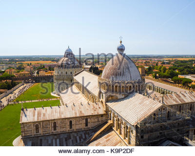 Cathedral and Baptistry, Pisa, viewed from the (Leaning) Bell Tower - Stock Photo