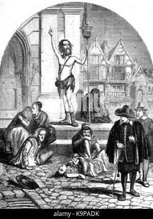 P433 The Great Plague, 1665. The Enthusiast Denouncing London - Stock Photo