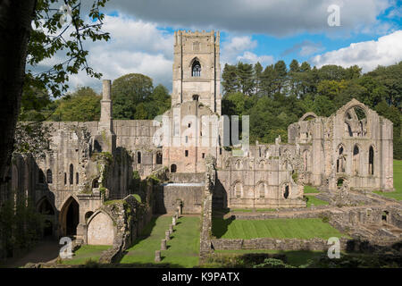 Fountains Abbey, Yorkshire, UK. - Stock Photo