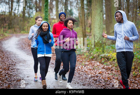 Fitness trainer guiding group of four determined young people du - Stock Photo