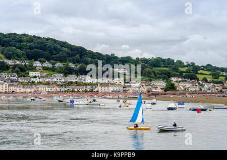 Boats on the estuary mouth of the River Teign, Teignmouth, Devon, England, UK - Stock Photo