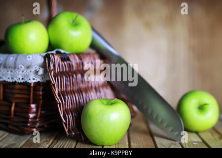 green apple in a basket - Stock Photo