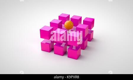Purple cubes and one orange ball - Stock Photo