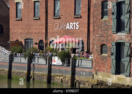 the quay arts centre and café bistro restaurant at Newport harbour on the quayside of the river medina on the isle - Stock Photo