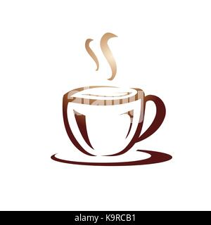 elegant cup of coffee illustration, icon design, isolated on white background. - Stock Photo