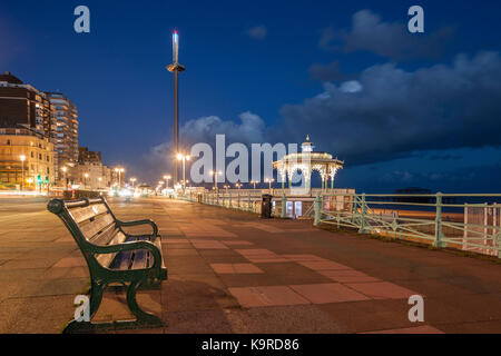 Evening on Brighton seafront, East Sussex, England. i360 viewing tower and Brighton Bandstand in hte distance. - Stock Photo