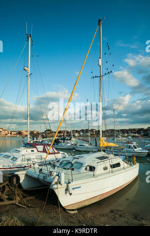 Yachts on river Adur, Shoreham-by-Sea, West Sussex, England. - Stock Photo