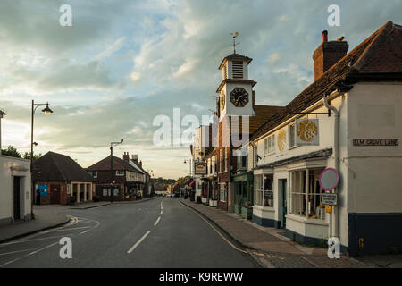 Summer sunset on High Street in Steyning in West Sussex, England. - Stock Photo