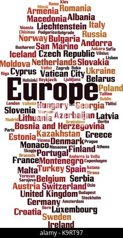 Countries in Europe word cloud concept. Vector illustration - Stock Photo