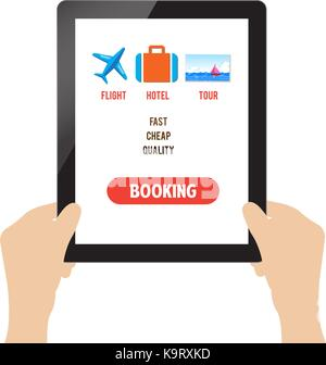 travel booking online on tablet - Stock Photo