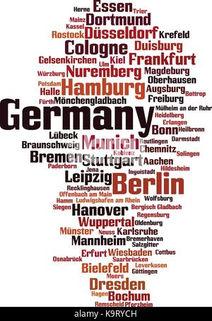 Cities in Germany word cloud concept. Vector illustration - Stock Photo
