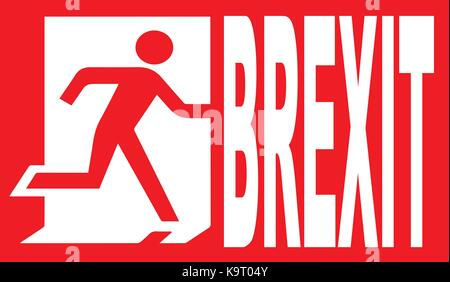 A red emergency brexit sign over a white background Stock Photo