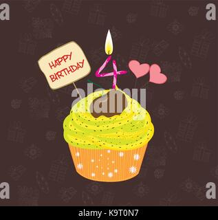 Birthday cupcake with lit candle in shape of number four - Stock Photo