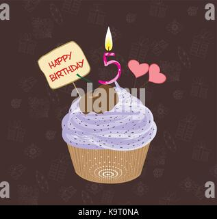 Birthday cupcake with lit candle in shape of number five - Stock Photo