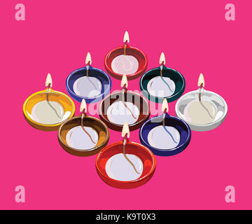 Diwali greeting card illustration using traditional illuminated oil clay lamp or Diya with happy diwali text - Stock Photo