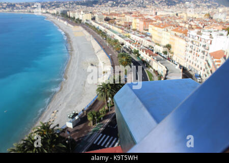 Telescope overlooking for Nice, France, cityscape from above - Stock Photo