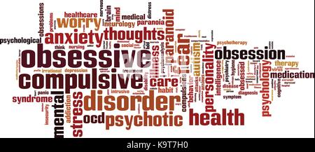 Obsessive word cloud concept. Vector illustration - Stock Photo