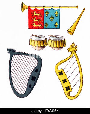 The musical instruments shown here date to Europe between 1200 and 1300. At top are two trumpets. In the middle - Stock Photo