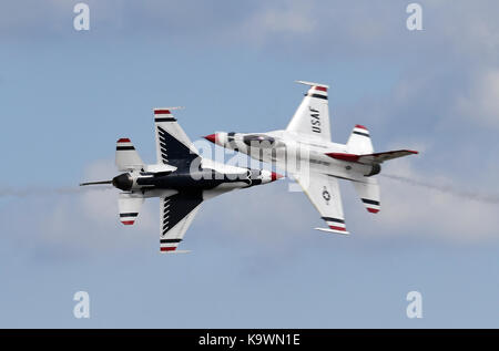 Beijing, USA. 16th Sep, 2017. U.S. Air Force Thunderbirds perform aerobatics during an air show celebrating the - Stock Photo