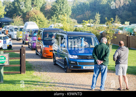 Henlow Bridge Lakes, Bedfordshire, UK. 24th September 2017. Participants of the 'Run the Ring' charity VW cruise - Stock Photo