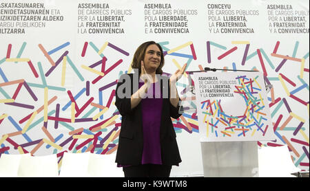 Zaragoza, Spain. 24th Sep, 2017. Barcelona's Mayoress, Ada Colau, gives a speech at the Public Office Assembly held - Stock Photo